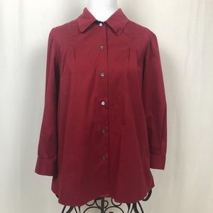 Theory Damica Luxe Button Up Top S Red Relaxed
